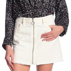 FREE PEOPLE White Zip it Up Mini Denim Skirt